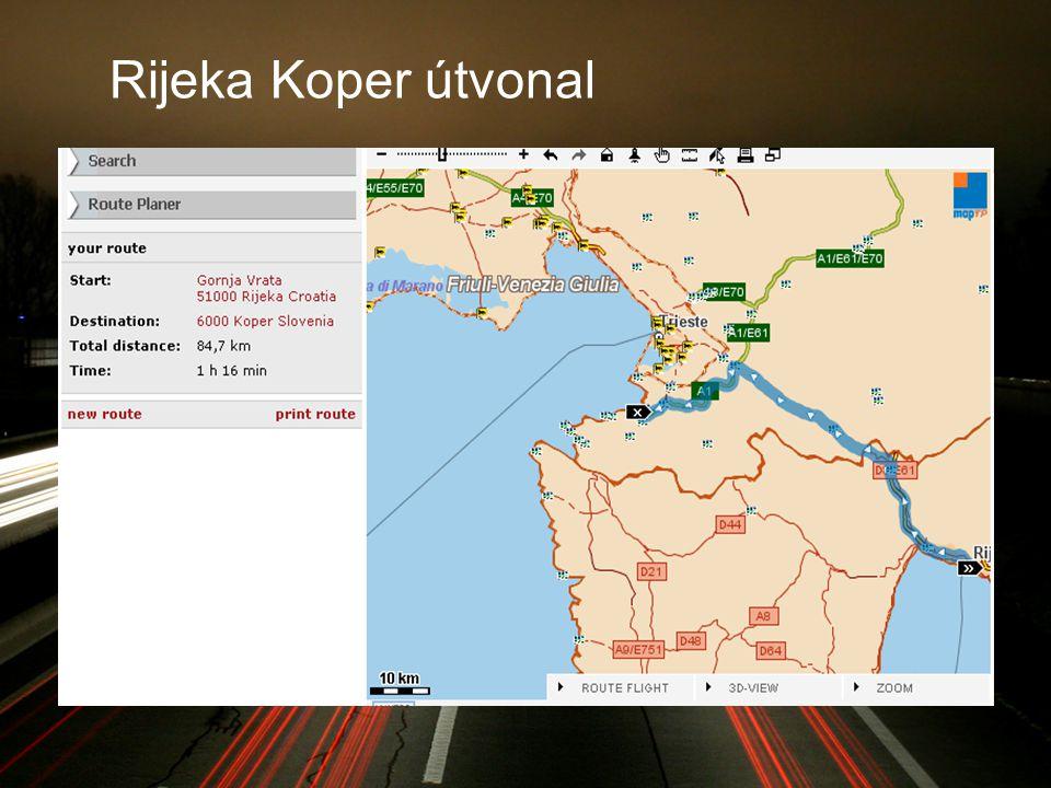 Rijeka Koper útvonal