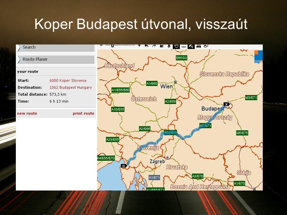 Koper Budapest útvonal, visszaút
