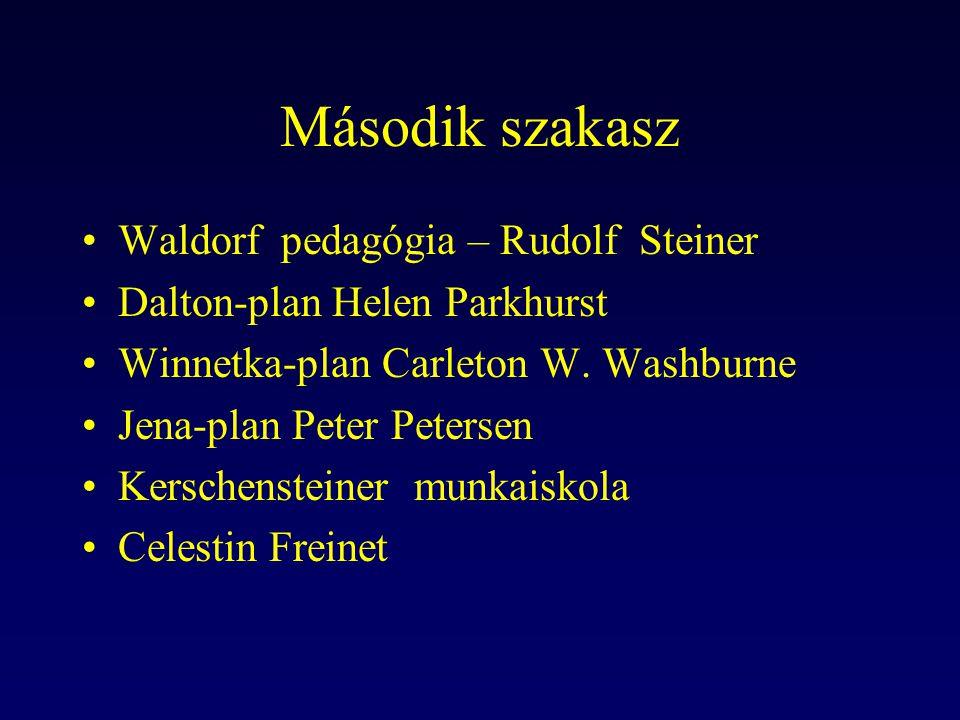 Második szakasz Waldorf pedagógia – Rudolf Steiner Dalton-plan Helen Parkhurst Winnetka-plan Carleton W. Washburne Jena-plan Peter Petersen Kerschenst