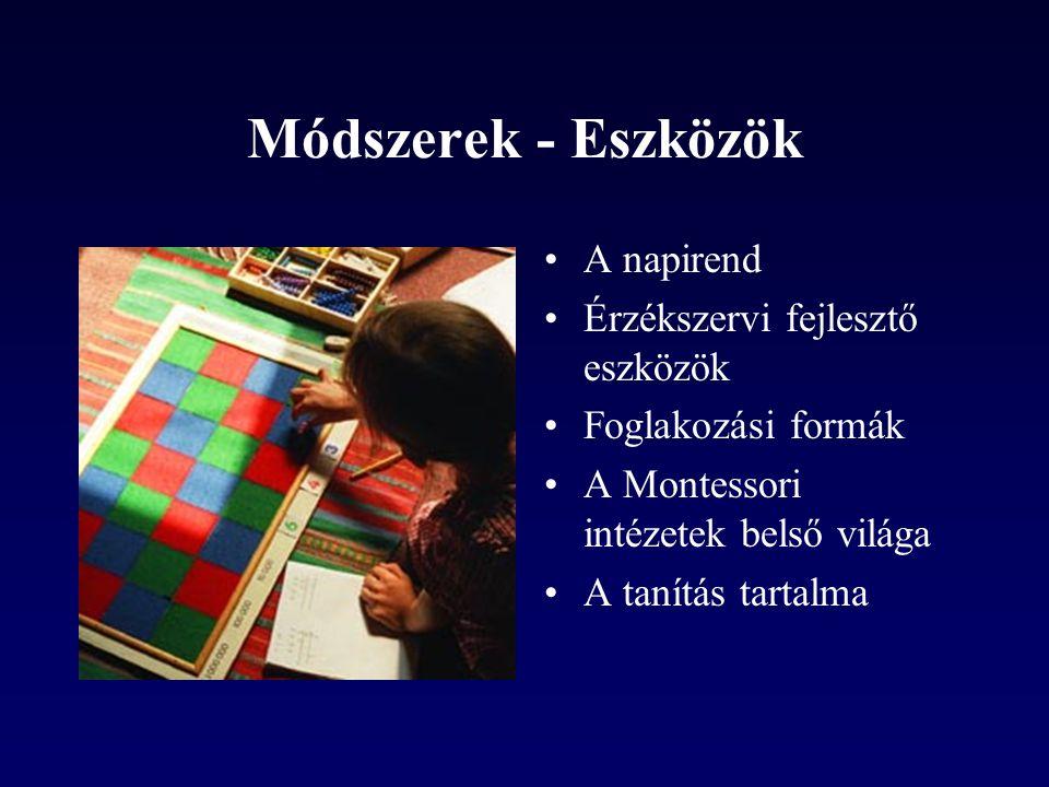 Módszerek - Eszközök A napirend Érzékszervi fejlesztő eszközök Foglakozási formák A Montessori intézetek belső világa A tanítás tartalma