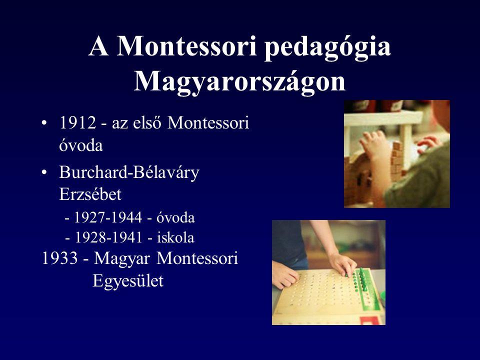 A Montessori pedagógia Magyarországon 1912 - az első Montessori óvoda Burchard-Bélaváry Erzsébet - 1927-1944 - óvoda - 1928-1941 - iskola 1933 - Magya