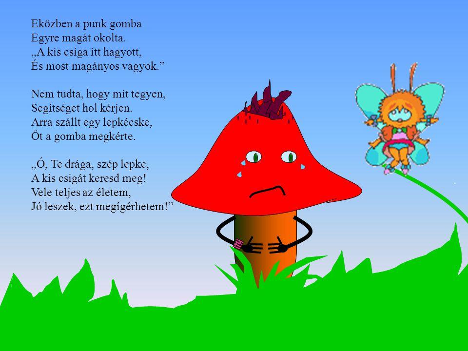 A kis lepke megtette, A kis csigát kereste.Megtalálta, meglelte, A gombához vezette.