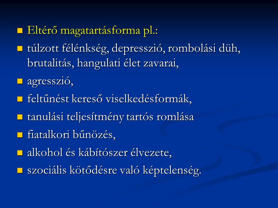 Eltérő magatartásforma pl.: Eltérő magatartásforma pl.: túlzott félénkség, depresszió, rombolási düh, brutalitás, hangulati élet zavarai, túlzott félénkség, depresszió, rombolási düh, brutalitás, hangulati élet zavarai, agresszió, agresszió, feltűnést kereső viselkedésformák, feltűnést kereső viselkedésformák, tanulási teljesítmény tartós romlása tanulási teljesítmény tartós romlása fiatalkori bűnözés, fiatalkori bűnözés, alkohol és kábítószer élvezete, alkohol és kábítószer élvezete, szociális kötődésre való képtelenség.