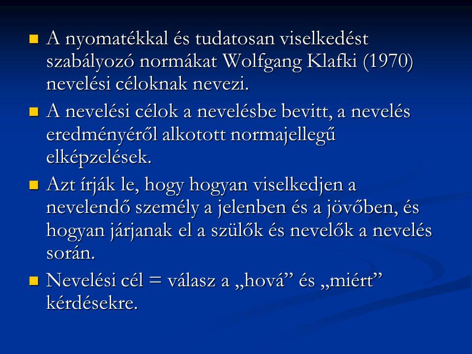 A nyomatékkal és tudatosan viselkedést szabályozó normákat Wolfgang Klafki (1970) nevelési céloknak nevezi.