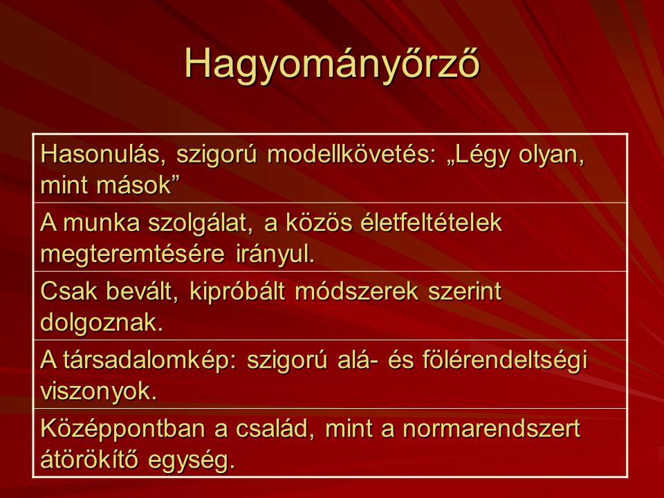 Magyarországi jellemző értékrend csoportok  Hagyományőrző  Individualista  Anarchikus  Bürokratikus Forrás: Kapitány Ágnes –Kapitány Gábor: Értékr