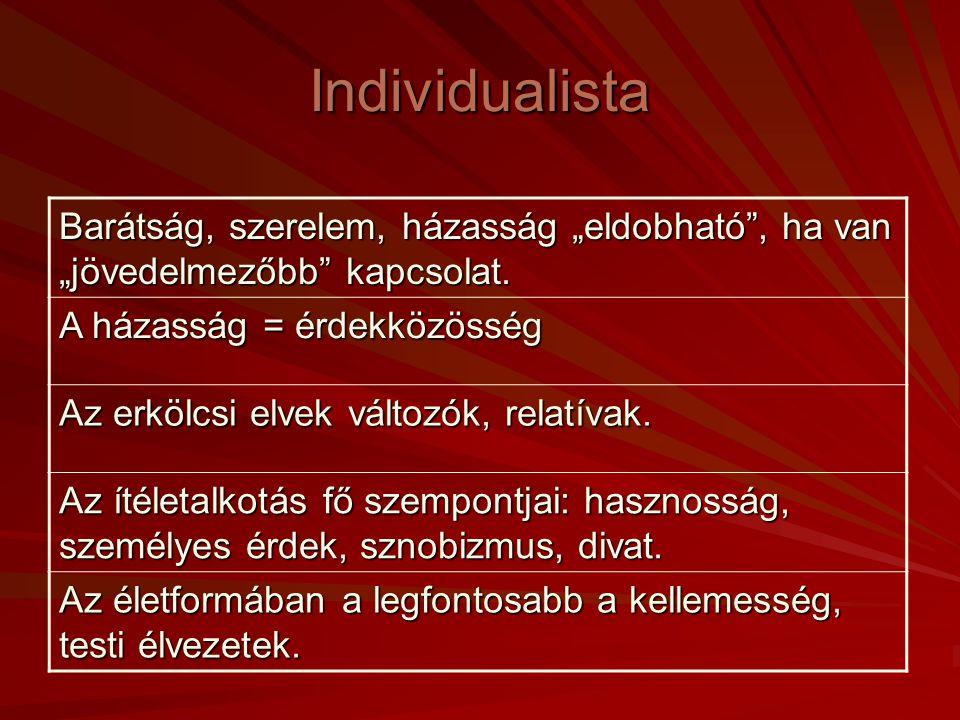 Individualista Egyediség fontossága: Légy másoktól különböző! A munka célja az önmegvalósítás, a dolgok birtoklása. A sikeresség fontosabb, mint a lét