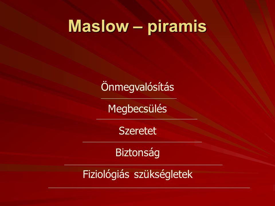 Tartalomelméletek:  A motiváció Maslow féle szükséglet- elmélete,  Herzberg két tényező elmélete,  Teljesítmény-hatalom elmélete
