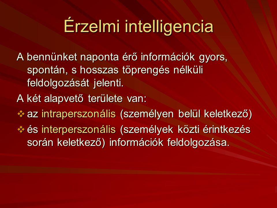 Intelligencia  Az általános intelligencia azon képességünk, hogy a világ kihívásainak hogyan tudunk megfelelni. Mérése: intelligencia teszt: pl. álta