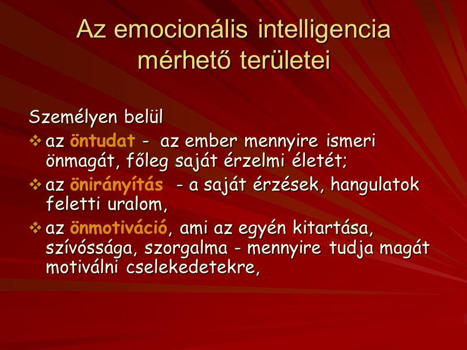 Érzelmi intelligencia A bennünket naponta érő információk gyors, spontán, s hosszas töprengés nélküli feldolgozását jelenti. A két alapvető területe v