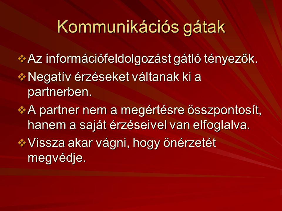 A kommunikáció alapszabályai  Nem az a fontos, amit a küldő közölni akar, hanem az, amit ebből a fogadó megért.
