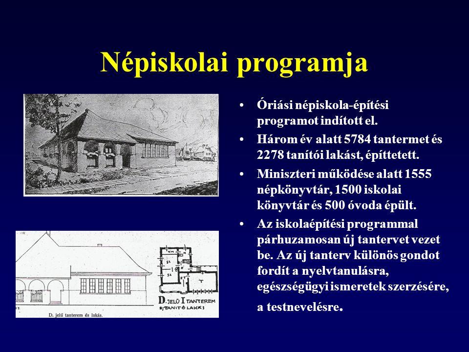 Népiskolai programja Óriási népiskola-építési programot indított el. Három év alatt 5784 tantermet és 2278 tanítói lakást, építtetett. Miniszteri műkö