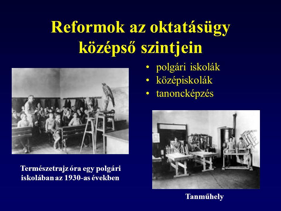 Reformok az oktatásügy középső szintjein polgári iskolák középiskolák tanoncképzés Természetrajz óra egy polgári iskolában az 1930-as években Tanműhely