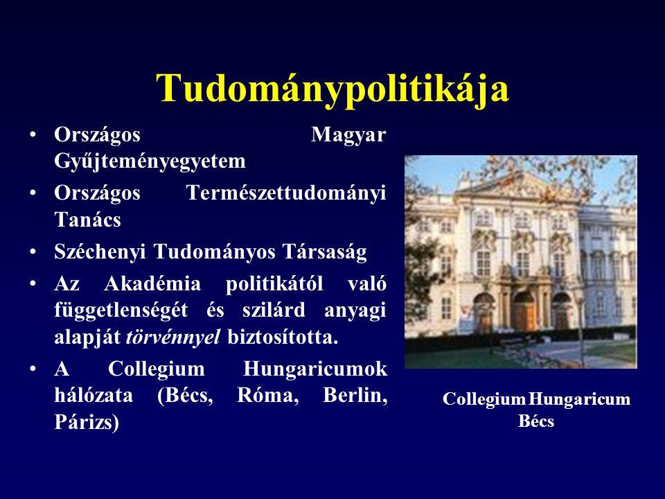 Tudománypolitikája Országos Magyar Gyűjteményegyetem Országos Természettudományi Tanács Széchenyi Tudományos Társaság Az Akadémia politikától való függetlenségét és szilárd anyagi alapját törvénnyel biztosította.