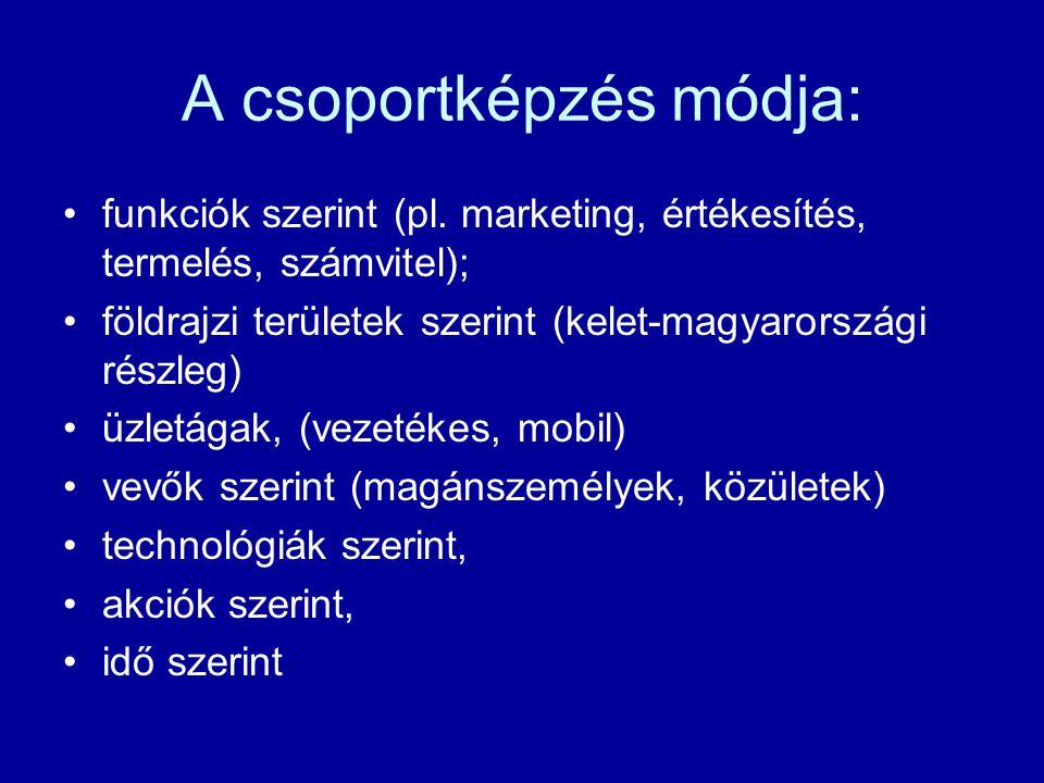 A csoportképzés módja: funkciók szerint (pl.