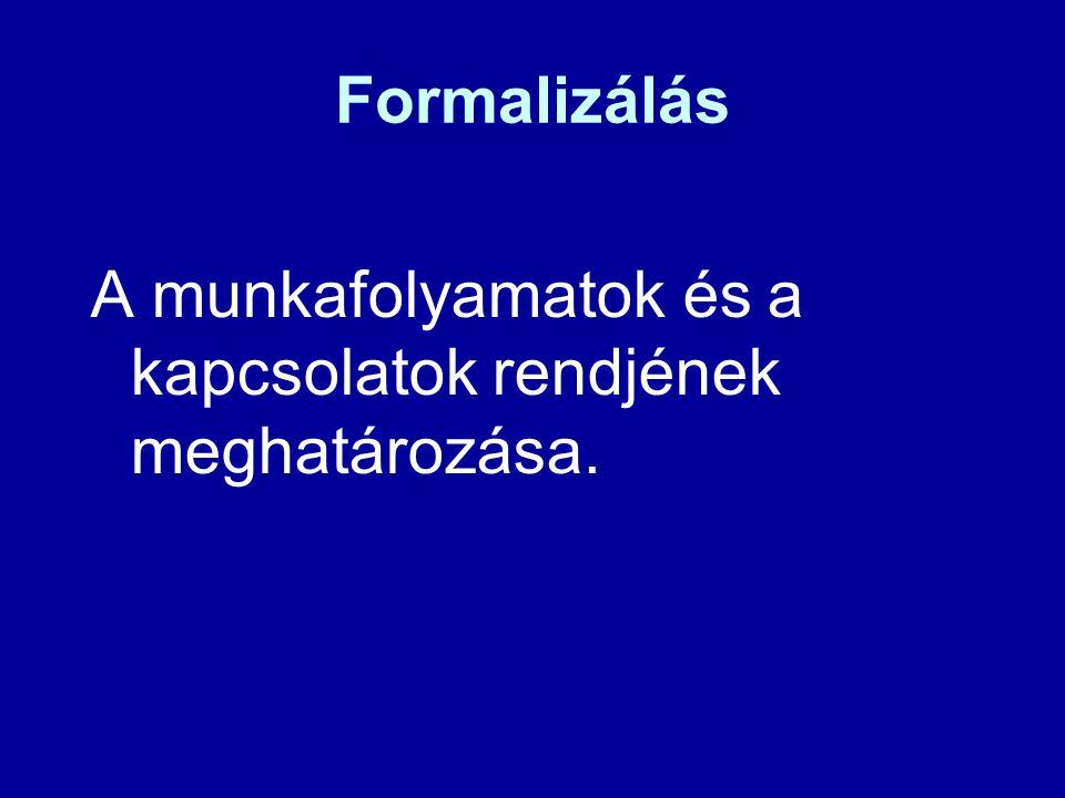 Formalizálás A munkafolyamatok és a kapcsolatok rendjének meghatározása.