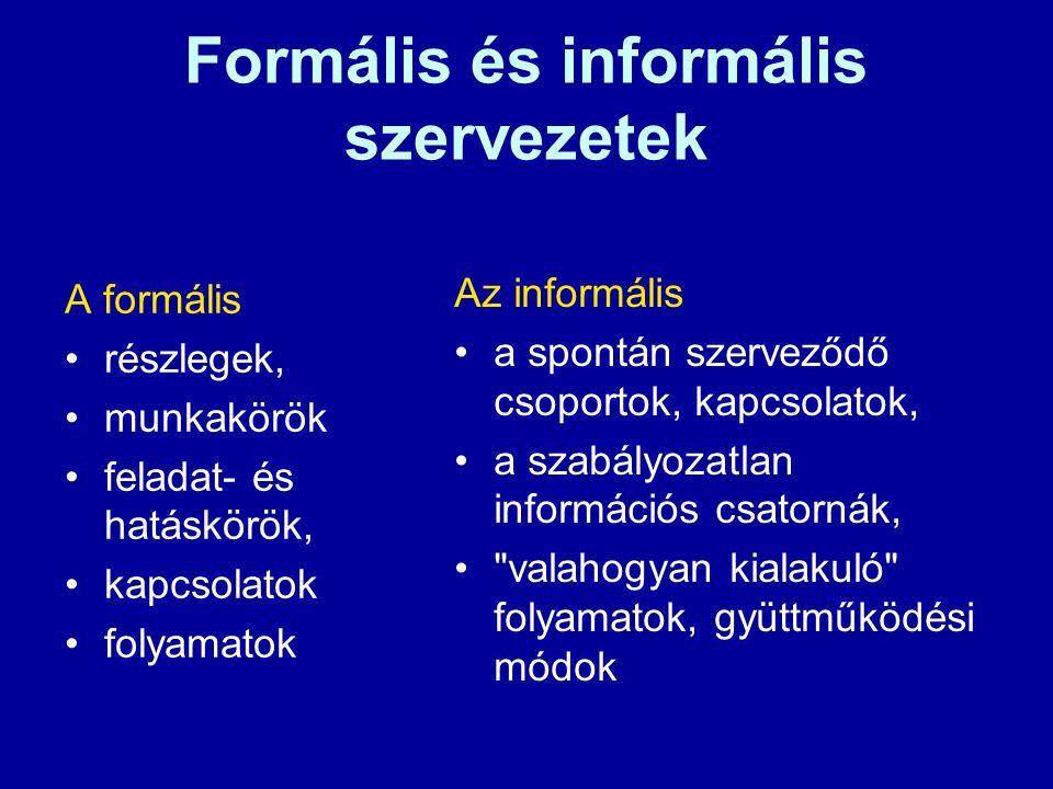 Formális és informális szervezetek A formális részlegek, munkakörök feladat- és hatáskörök, kapcsolatok folyamatok Az informális a spontán szerveződő csoportok, kapcsolatok, a szabályozatlan információs csatornák, valahogyan kialakuló folyamatok, gyüttműködési módok