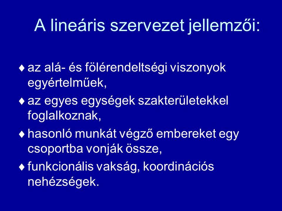 A lineáris szervezet jellemzői:  az alá- és fölérendeltségi viszonyok egyértelműek,  az egyes egységek szakterületekkel foglalkoznak,  hasonló munkát végző embereket egy csoportba vonják össze,  funkcionális vakság, koordinációs nehézségek.