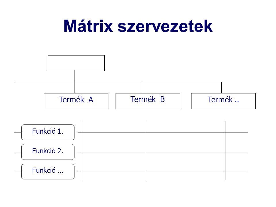 Mátrix szervezetek Termék.. Funkció 1. Funkció 2. Funkció... Termék ATermék B