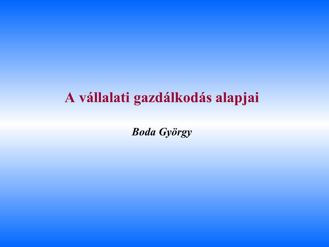 Boda György A vállalati gazdálkodás alapjai