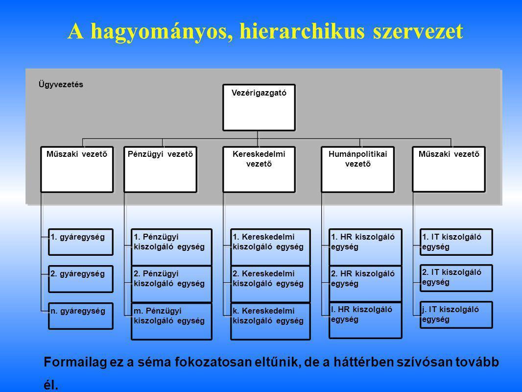 A hagyományos, hierarchikus szervezet 1. gyáregység 2. gyáregység n. gyáregység Műszaki vezetőPénzügyi vezetőKereskedelmi vezető Humánpolitikai vezető