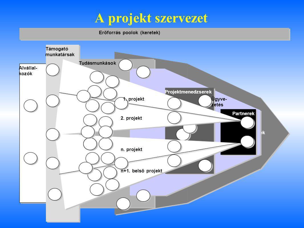 A projekt szervezet Üzleti igények Alvállal- kozók Támogató munkatársak Tudásmunkások Projektmenedzserek Partnerek Ügyve- zetés 1. projekt 2. projekt