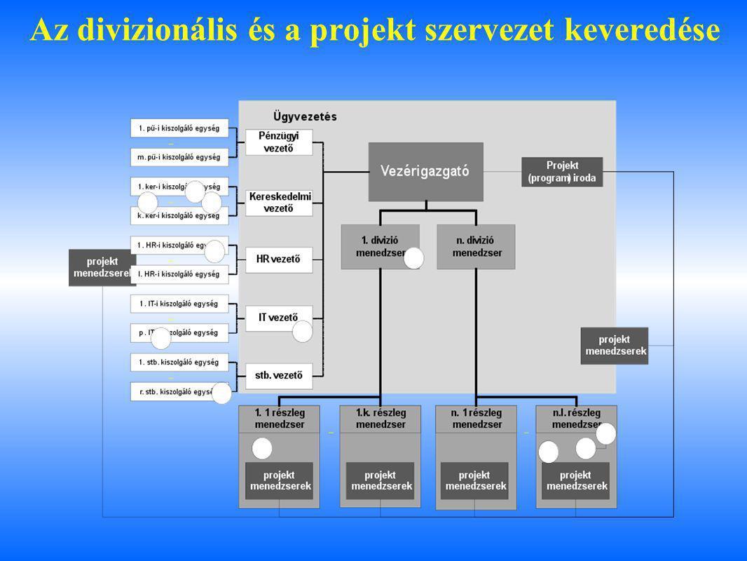 Az divizionális és a projekt szervezet keveredése