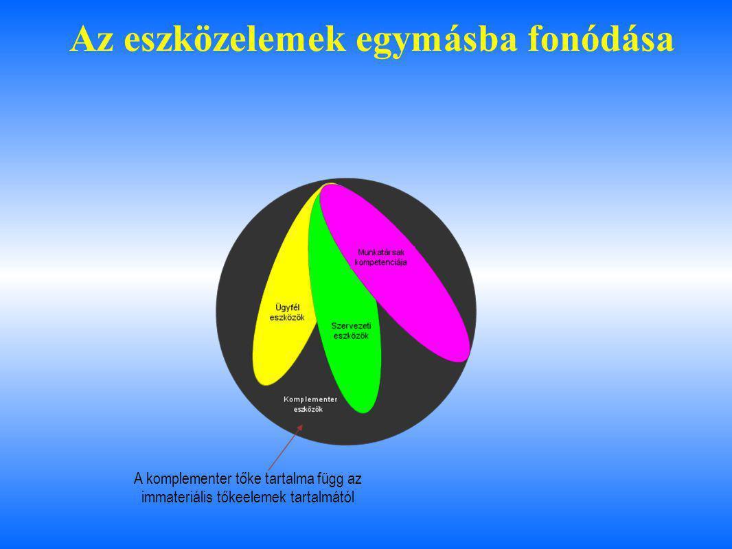 Az eszközelemek egymásba fonódása A komplementer tőke tartalma függ az immateriális tőkeelemek tartalmától