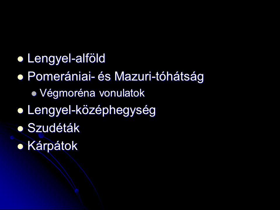 Lengyel-alföld Lengyel-alföld Pomerániai- és Mazuri-tóhátság Pomerániai- és Mazuri-tóhátság Végmoréna vonulatok Végmoréna vonulatok Lengyel-középhegys