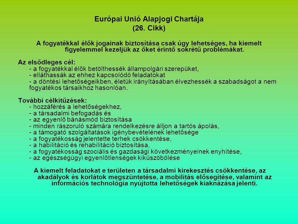 Európai Unió Alapjogi Chartája (26. Cikk) A fogyatékkal élők jogainak biztosítása csak úgy lehetséges, ha kiemelt figyelemmel kezeljük az őket érintő