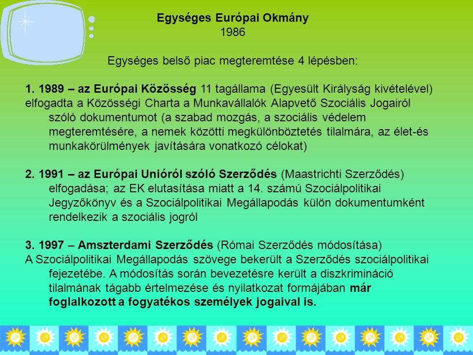 Egységes Európai Okmány 1986 Egységes belső piac megteremtése 4 lépésben: 1. 1989 – az Európai Közösség 11 tagállama (Egyesült Királyság kivételével)