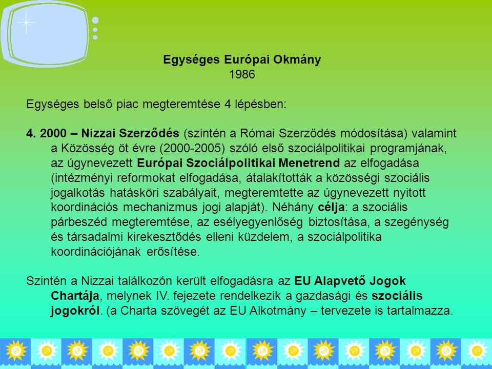 Egységes Európai Okmány 1986 Egységes belső piac megteremtése 4 lépésben: 4. 2000 – Nizzai Szerződés (szintén a Római Szerződés módosítása) valamint a