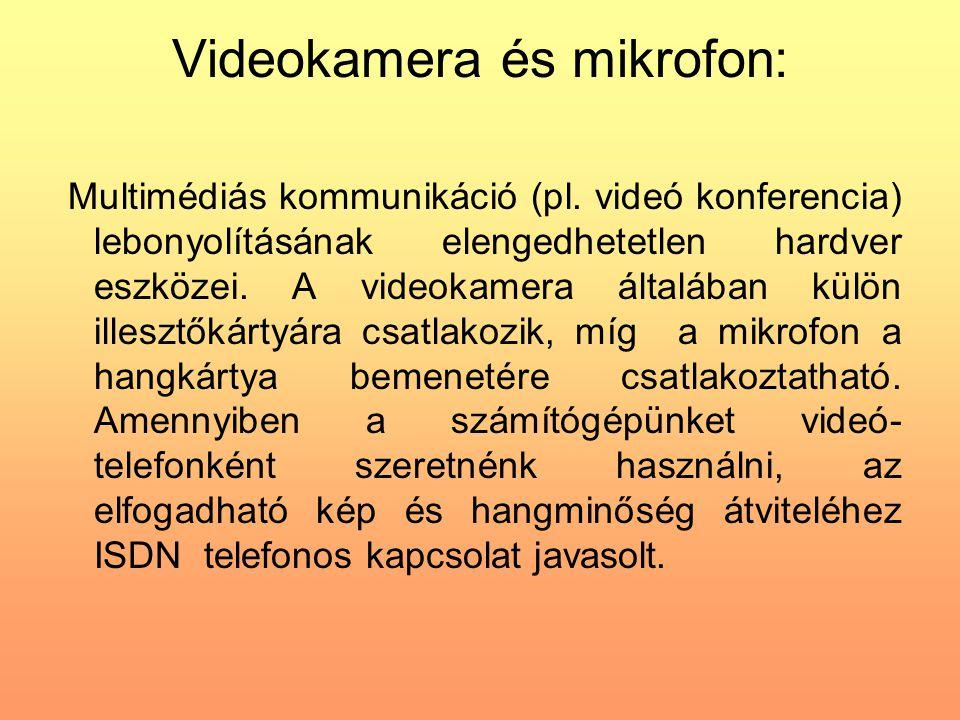 Videokamera és mikrofon: Multimédiás kommunikáció (pl. videó konferencia) lebonyolításának elengedhetetlen hardver eszközei. A videokamera általában k