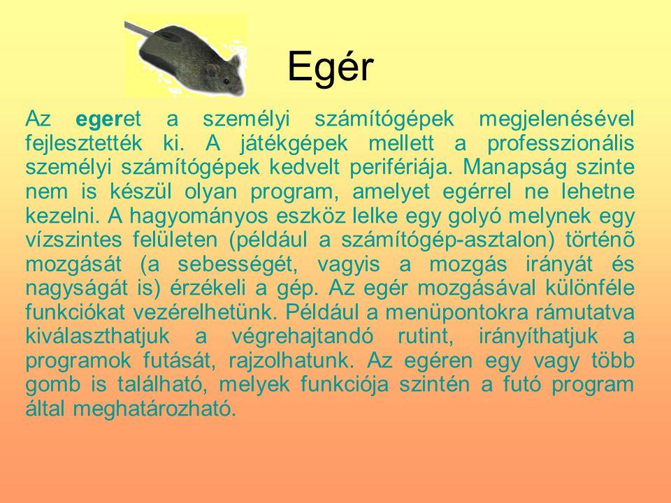 Egér Az egeret a személyi számítógépek megjelenésével fejlesztették ki. A játékgépek mellett a professzionális személyi számítógépek kedvelt perifériá
