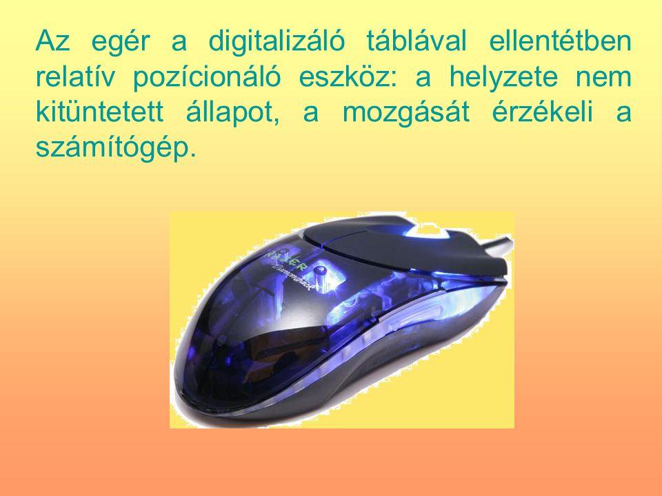 Az egér a digitalizáló táblával ellentétben relatív pozícionáló eszköz: a helyzete nem kitüntetett állapot, a mozgását érzékeli a számítógép.