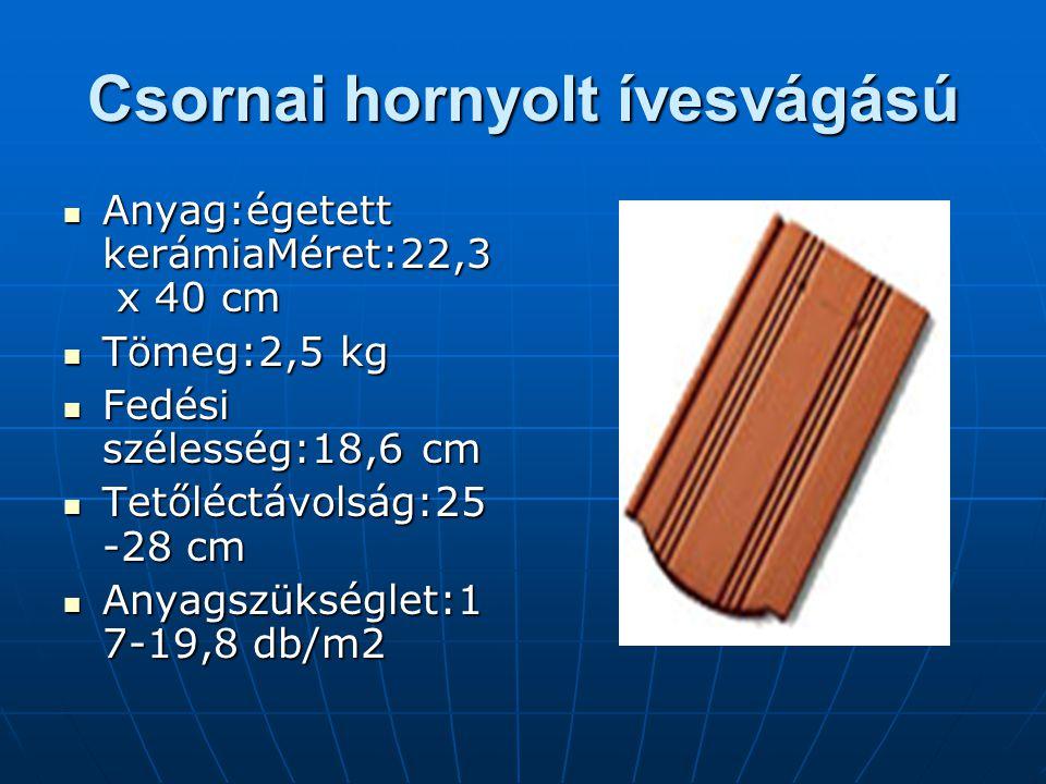 Csornai hornyolt ívesvágású Anyag:égetett kerámiaMéret:22,3 x 40 cm Tömeg:2,5 kg Fedési szélesség:18,6 cm Tetőléctávolság:25 -28 cm Anyagszükséglet:1 7-19,8 db/m2