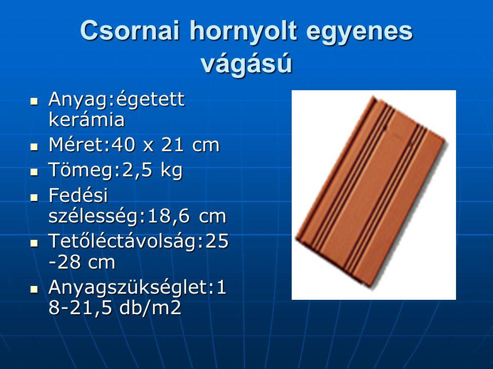 Csornai hornyolt egyenes vágású Anyag:égetett kerámia Méret:40 x 21 cm Tömeg:2,5 kg Fedési szélesség:18,6 cm Tetőléctávolság:25 -28 cm Anyagszükséglet:1 8-21,5 db/m2