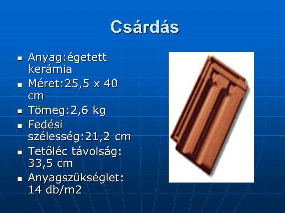 Csárdás Csárdás Anyag:égetett kerámia Méret:25,5 x 40 cm Tömeg:2,6 kg Fedési szélesség:21,2 cm Tetőléc távolság: 33,5 cm Anyagszükséglet: 14 db/m2