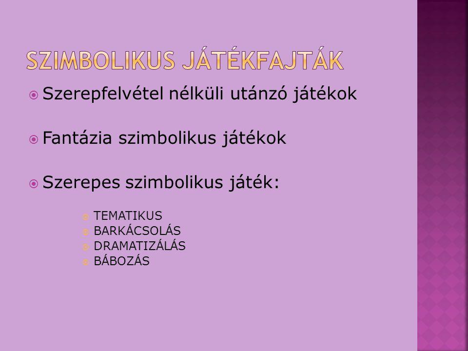  Szerepfelvétel nélküli utánzó játékok  Fantázia szimbolikus játékok  Szerepes szimbolikus játék:  TEMATIKUS  BARKÁCSOLÁS  DRAMATIZÁLÁS  BÁBOZÁ