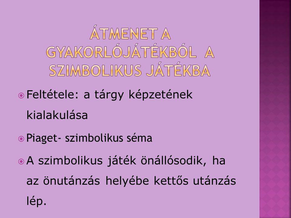  Szerepfelvétel nélküli utánzó játékok  Fantázia szimbolikus játékok  Szerepes szimbolikus játék:  TEMATIKUS  BARKÁCSOLÁS  DRAMATIZÁLÁS  BÁBOZÁS