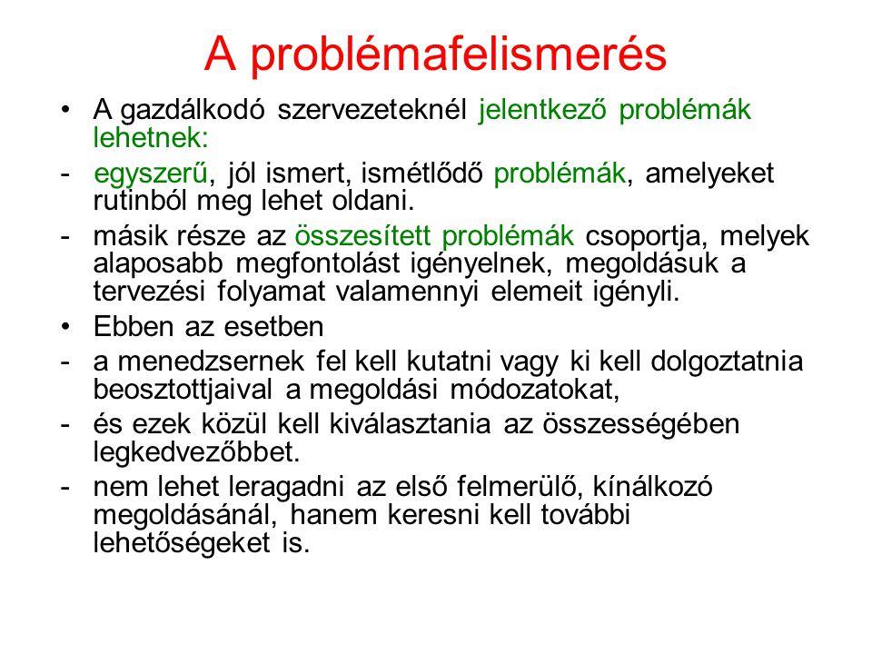 A problémafelismerés A gazdálkodó szervezeteknél jelentkező problémák lehetnek: - egyszerű, jól ismert, ismétlődő problémák, amelyeket rutinból meg le