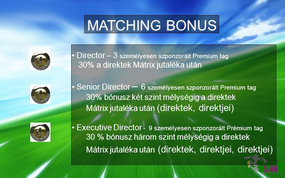 MATCHING BONUS Director – 3 személyesen szponzorált Premium tag 30% a direktek Mátrix jutaléka után Senior Director – 6 személyesen szponzorált Premium tag 30% bónusz két szint mélységig a direktek Mátrix jutaléka után (direktek, direktjei) Executive Director - 9 személyesen szponzorált Prémium tag 30 % bónusz három szint mélységig a direktek Mátrix jutaléka után (direktek, direktjei, direktjei)