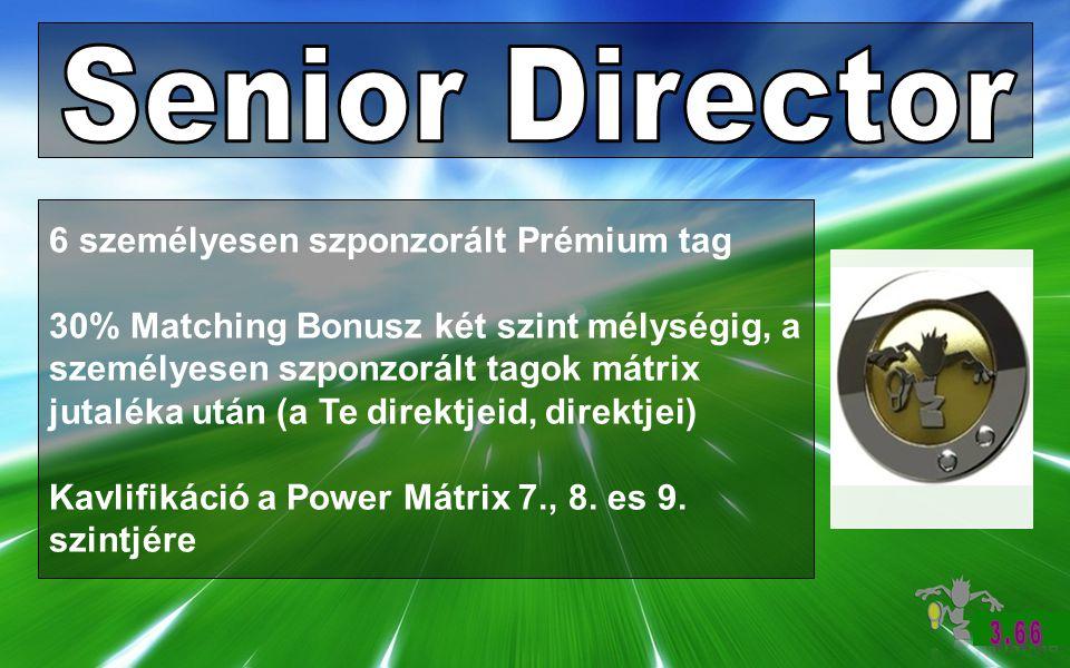 6 személyesen szponzorált Prémium tag 30% Matching Bonusz két szint mélységig, a személyesen szponzorált tagok mátrix jutaléka után (a Te direktjeid, direktjei) Kavlifikáció a Power Mátrix 7., 8.