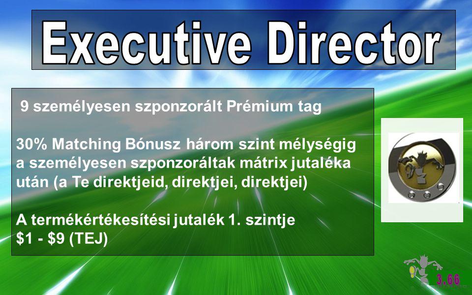 9 személyesen szponzorált Prémium tag 30% Matching Bónusz három szint mélységig a személyesen szponzoráltak mátrix jutaléka után (a Te direktjeid, direktjei, direktjei) A termékértékesítési jutalék 1.