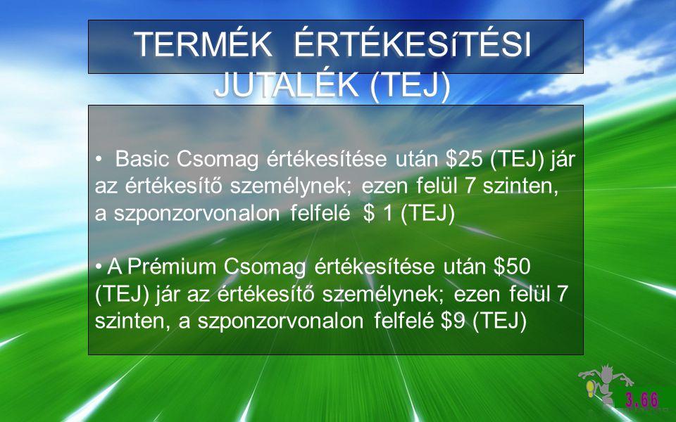 TERMÉK ÉRTÉKESíTÉSI JUTALÉK (TEJ) Basic Csomag értékesítése után $25 (TEJ) jár az értékesítő személynek; ezen felül 7 szinten, a szponzorvonalon felfelé $ 1 (TEJ) A Prémium Csomag értékesítése után $50 (TEJ) jár az értékesítő személynek; ezen felül 7 szinten, a szponzorvonalon felfelé $9 (TEJ)