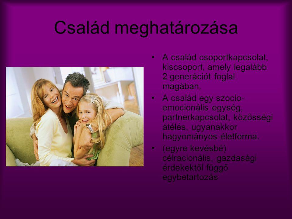 Család meghatározása A család csoportkapcsolat, kiscsoport, amely legalább 2 generációt foglal magában. A család egy szocio- emocionális egység, partn