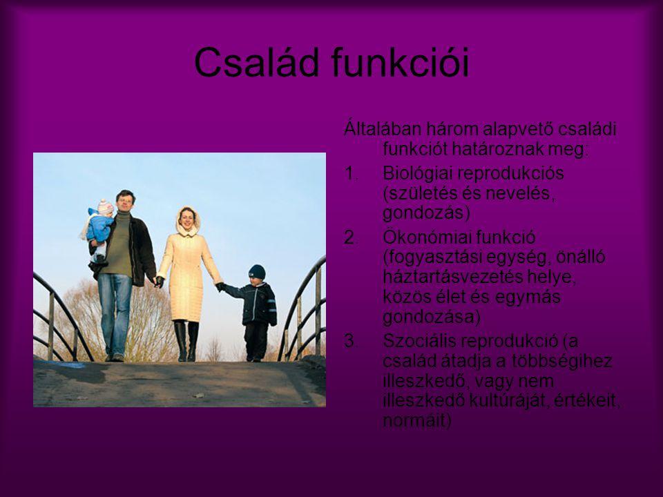 Család funkciói Általában három alapvető családi funkciót határoznak meg: 1.Biológiai reprodukciós (születés és nevelés, gondozás) 2.Ökonómiai funkció