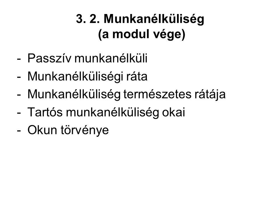 3. 2. Munkanélküliség (a modul vége) -Passzív munkanélküli -Munkanélküliségi ráta -Munkanélküliség természetes rátája -Tartós munkanélküliség okai -Ok