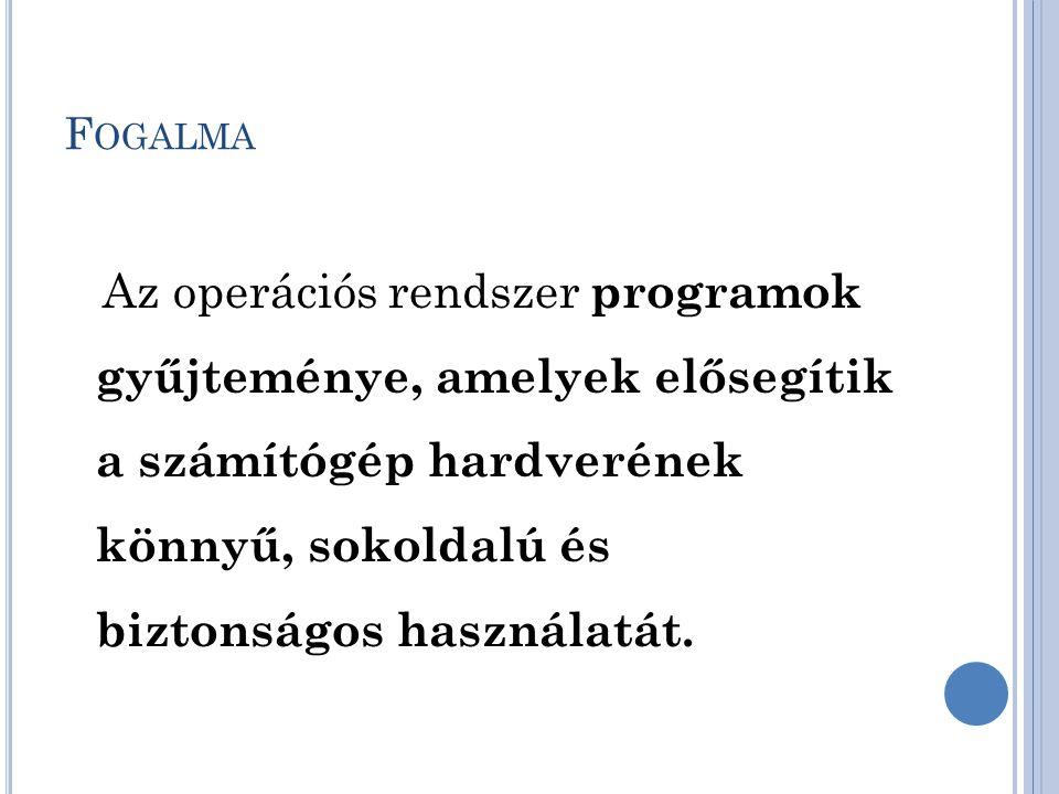 F OGALMA Az operációs rendszer programok gyűjteménye, amelyek elősegítik a számítógép hardverének könnyű, sokoldalú és biztonságos használatát.