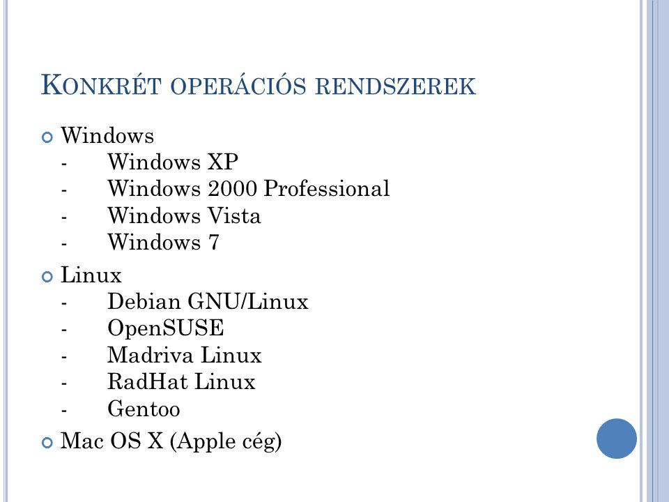 K ONKRÉT OPERÁCIÓS RENDSZEREK Windows -Windows XP -Windows 2000 Professional -Windows Vista -Windows 7 Linux -Debian GNU/Linux -OpenSUSE -Madriva Linu