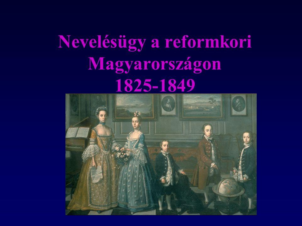 A polgári átalakulás és a nevelés Törekvések a magyar közoktatás polgári átalakítására - az 1825/27-es országgyűlés Az óvodai mozgalom - Brunszvik Teréz A népoktatás és tanítóképzés ügye -az első tanítóképzők Küzdelem a magyar tanítási nyelvért A nőnevelés ügye A szakoktatás kérdései Brunszvik Teréz Teleki Blanka
